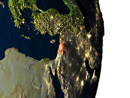 lebanese: Dusk over Lebanon highlighted in red with city lights as seen from Earths orbit in space. 3D illustration with highly detailed realistic planet surface.