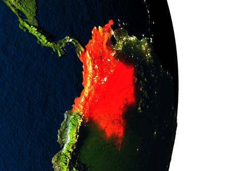 Dusk over Colombia highlighted in red with city lights as seen from Earths orbit in space. 3D illustration with highly detailed realistic planet surface.