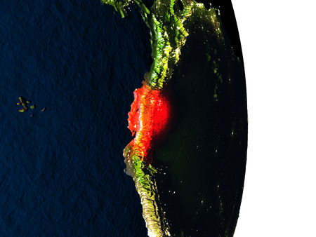 Dusk over Ecuador highlighted in red with city lights as seen from Earths orbit in space. 3D illustration with highly detailed realistic planet surface. Stock Photo