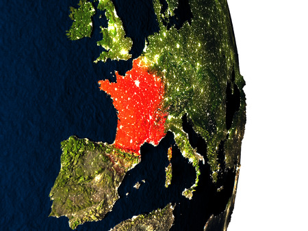 francaise: Dusk over France highlighted in red with city lights as seen from Earths orbit in space. 3D illustration with highly detailed realistic planet surface. Stock Photo
