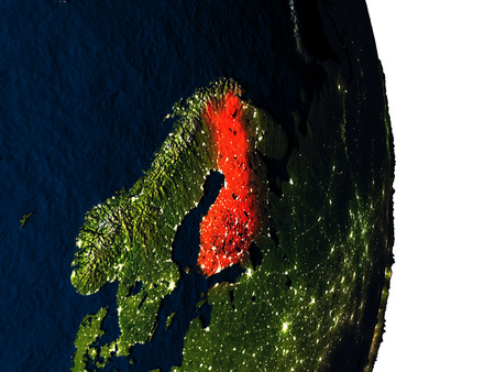 suomi: Dusk over Finland highlighted in red with city lights as seen from Earths orbit in space. 3D illustration with highly detailed realistic planet surface.