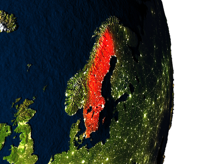 Dusk over Sweden highlighted in red with city lights as seen from Earths orbit in space. 3D illustration with highly detailed realistic planet surface.