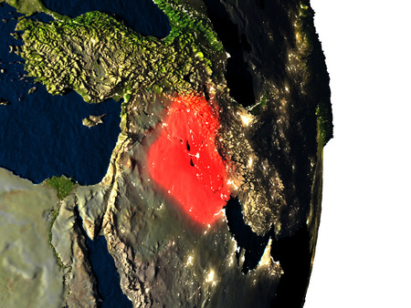 Dusk over Iraq highlighted in red with city lights as seen from Earths orbit in space. 3D illustration with highly detailed realistic planet surface.