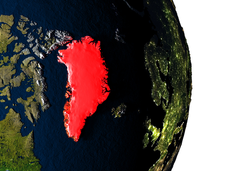 Dusk over Greenland highlighted in red with city lights as seen from Earths orbit in space. 3D illustration with highly detailed realistic planet surface.