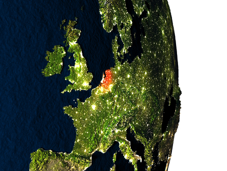 nederland: Dusk over Netherlands highlighted in red with city lights as seen from Earths orbit in space. 3D illustration with highly detailed realistic planet surface.
