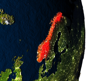 Dusk over Norway highlighted in red with city lights as seen from Earths orbit in space. 3D illustration with highly detailed realistic planet surface.