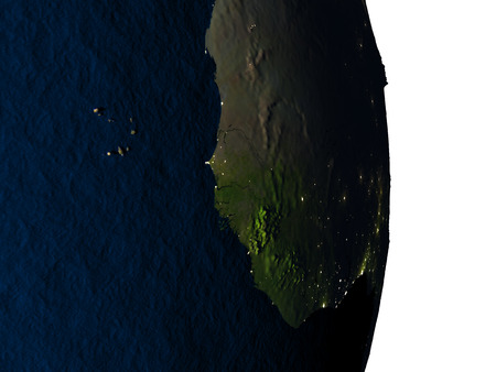 Dusk over Gambia highlighted in red with city lights as seen from Earths orbit in space. 3D illustration with highly detailed realistic planet surface. Stock Photo