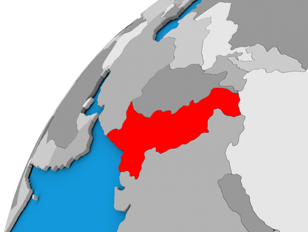diplomacy: Pakistan highlighted in red on globe with visible country borders. 3D illustration