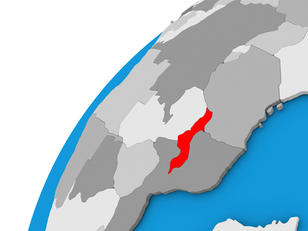 Malawi highlighted in red on globe with visible country borders. 3D illustration