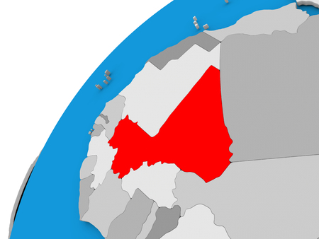 Mali highlighted in red on globe with visible country borders. 3D illustration