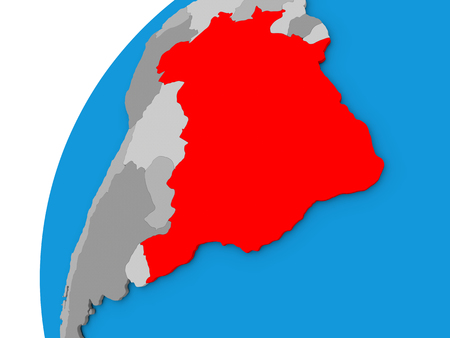 federative republic of brazil: Brazil highlighted in red on globe with visible country borders. 3D illustration