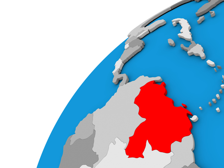 Venezuela highlighted in red on globe with visible country borders. 3D illustration