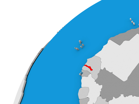 diplomacy: Gambia highlighted in red on globe with visible country borders. 3D illustration