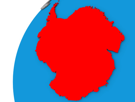 Antarctica highlighted in red on globe with visible country borders. 3D illustration Stock Photo