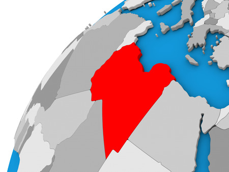 diplomacy: Libya highlighted in red on globe with visible country borders. 3D illustration Stock Photo