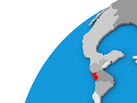 El Salvador highlighted in red on globe with visible country borders. 3D illustration