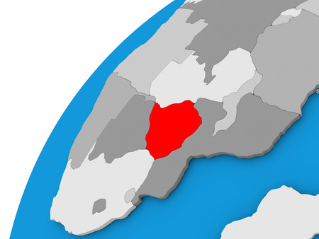 diplomacy: Zimbabwe highlighted in red on globe with visible country borders. 3D illustration