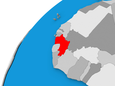 Guinea highlighted in red on globe with visible country borders. 3D illustration Stock Photo