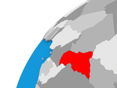 diplomacy: Central Africa highlighted in red on globe with visible country borders. 3D illustration Stock Photo