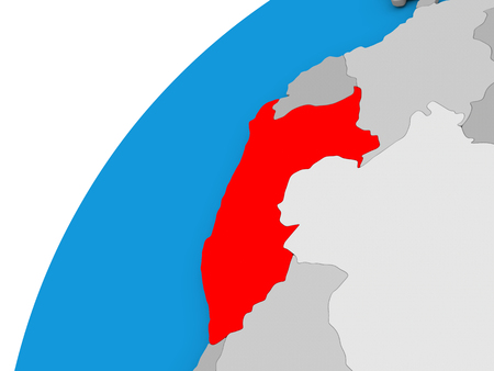 Peru highlighted in red on globe with visible country borders. 3D illustration