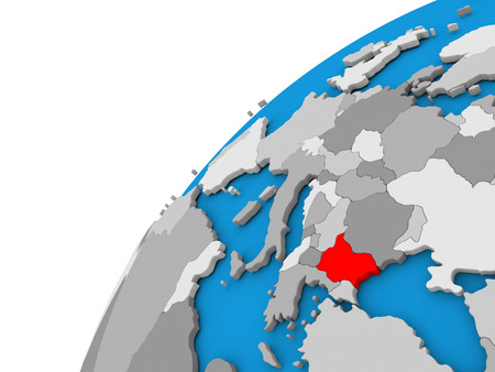Bulgaria highlighted in red on globe with visible country borders. 3D illustration