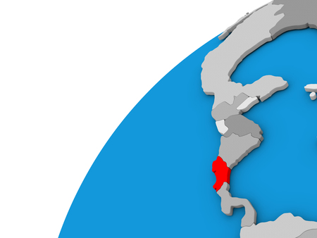 Costa Rica highlighted in red on globe with visible country borders. 3D illustration Banco de Imagens