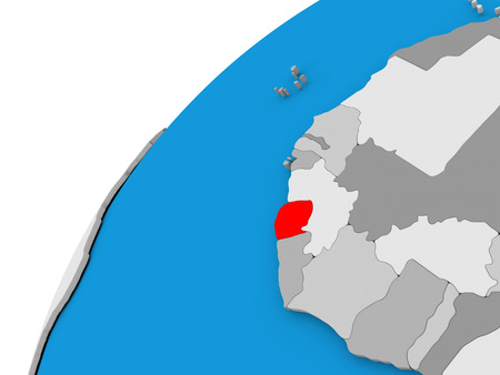diplomacy: Sierra Leone highlighted in red on globe with visible country borders. 3D illustration