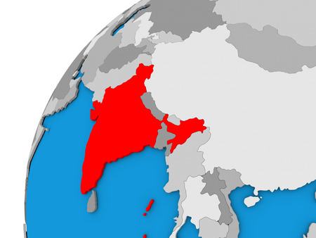 India highlighted in red on globe with visible country borders. 3D illustration