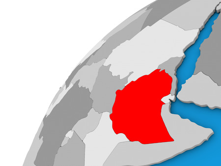 diplomacy: Ethiopia highlighted in red on globe with visible country borders. 3D illustration