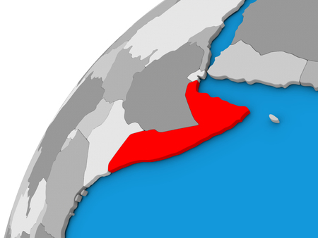 Somalia highlighted in red on globe with visible country borders. 3D illustration