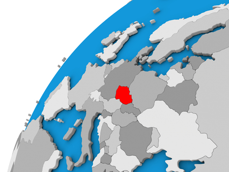 diplomacy: Czech republic highlighted in red on globe with visible country borders. 3D illustration Stock Photo