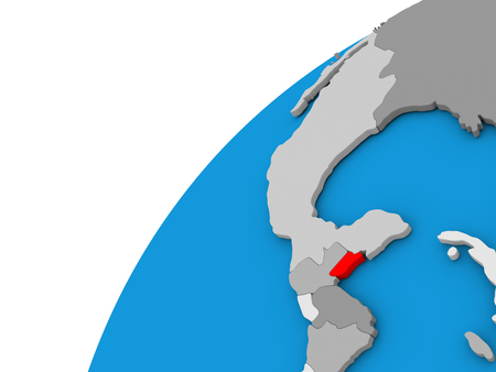 visible: Belize highlighted in red on globe with visible country borders. 3D illustration