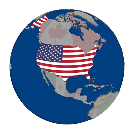 USA with embedded national flag on political globe. 3D illustration isolated on white background.
