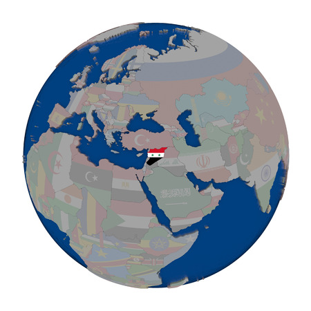 Syria with embedded national flag on political globe. 3D illustration isolated on white background. Stock Photo