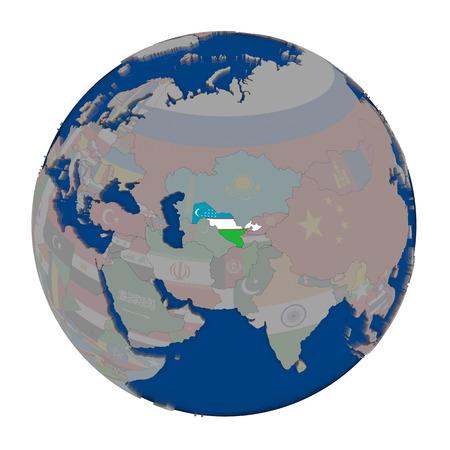 Uzbekistan with embedded national flag on political globe. 3D illustration isolated on white background.
