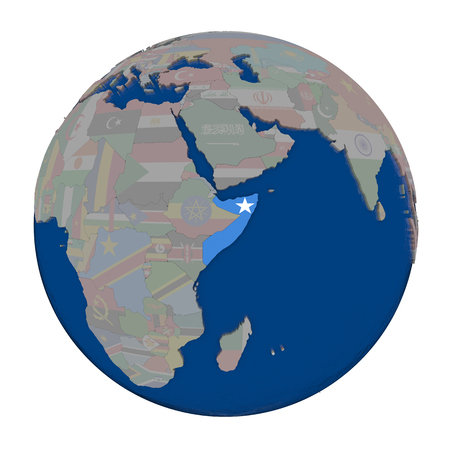 Somalia with embedded national flag on political globe. 3D illustration isolated on white background.