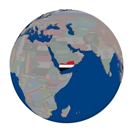 yemen: Yemen with embedded national flag on political globe. 3D illustration isolated on white background.