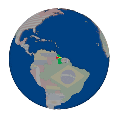 Guyana with embedded national flag on political globe. 3D illustration isolated on white background. Stock Photo