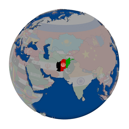 Afghanistan with embedded national flag on political globe. 3D illustration isolated on white background.