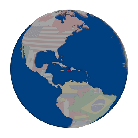 haitian: Haiti with embedded national flag on political globe. 3D illustration isolated on white background.
