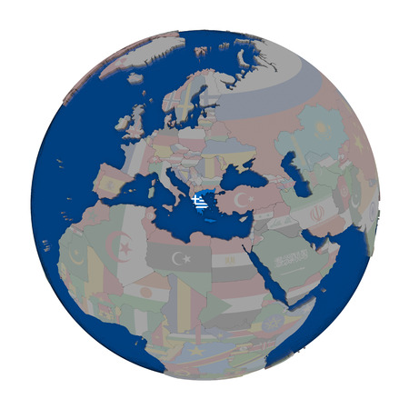 embedded: Greece with embedded national flag on political globe. 3D illustration isolated on white background. Stock Photo