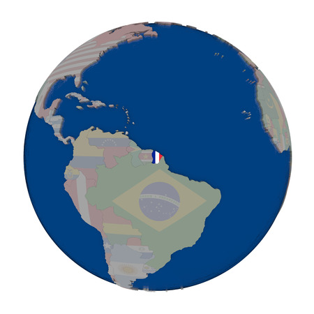guiana: French Guiana with embedded national flag on political globe. 3D illustration isolated on white background. Stock Photo