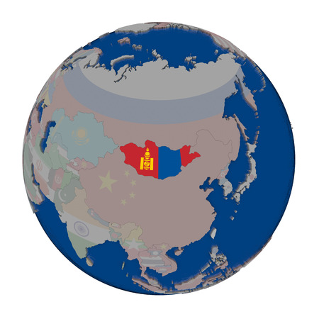 embedded: Mongolia with embedded national flag on political globe. 3D illustration isolated on white background.