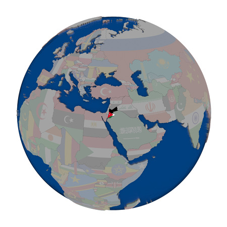 embedded: Jordan with embedded national flag on political globe. 3D illustration isolated on white background. Stock Photo