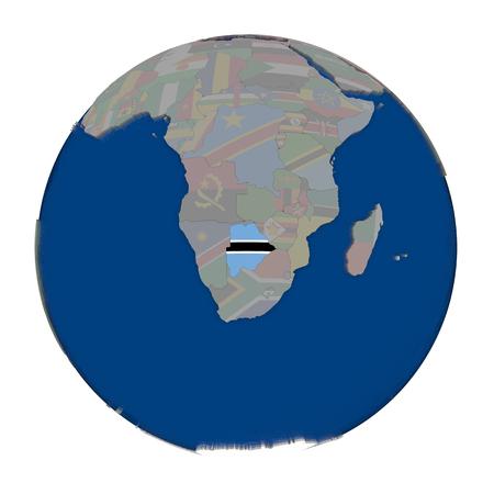 botswana: Botswana with embedded national flag on political globe. 3D illustration isolated on white background.