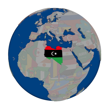 Libya with embedded national flag on political globe. 3D illustration isolated on white background.