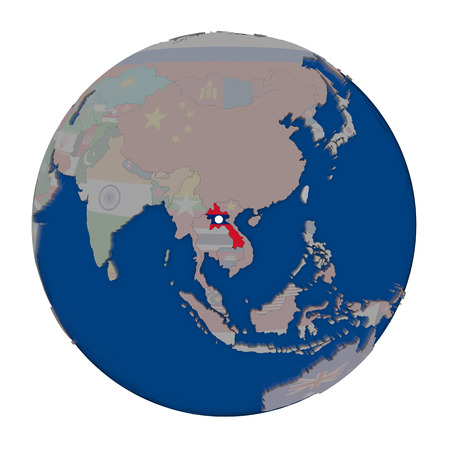 embedded: Laos with embedded national flag on political globe. 3D illustration isolated on white background.
