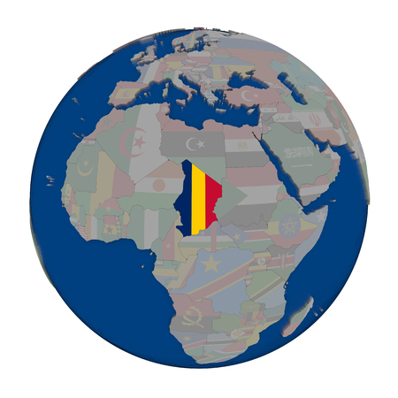 embedded: Chad with embedded national flag on political globe. 3D illustration isolated on white background.
