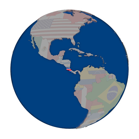 Costa Rica with embedded national flag on political globe. 3D illustration isolated on white background. Banco de Imagens