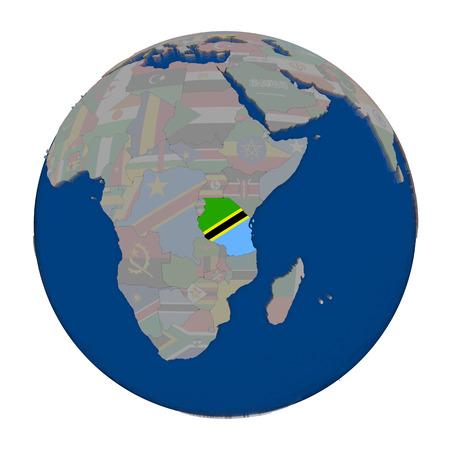 Tanzania with embedded national flag on political globe. 3D illustration isolated on white background. Stock Photo